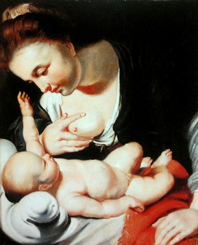 """""""Madonna karmiąca Dzieciątko (Maria Lactans)"""", autor: Erasmus Quellinus II (XVII w.). W zbiorach warszawskiego Muzeum Kolekcji im. Jana Pawła II. (Obraz z domeny publicznej)."""