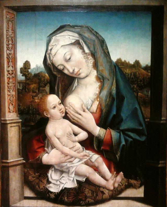 Gorszący widok? Madonna karmiąca Dzieciątko, którą można zobaczyć w Muzeum Narodowym w Warszawie w galerii malarstwa francuskiego, niderlandzkiego włoskiego. Autor: Hans Memling (XV w.)