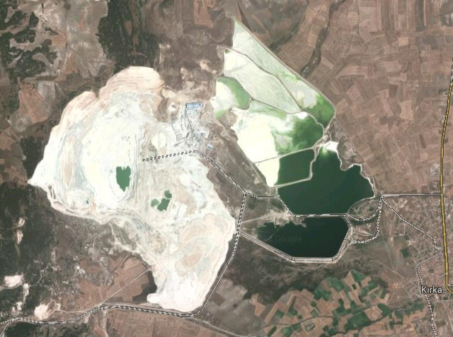 Kopalnia boraksu, Kırka, Turcja (zdjęcie Google Maps).