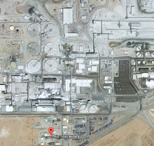 Kopalnia boraksu, Rio Tinto, Kalifornia (zdjęcie Google Maps).