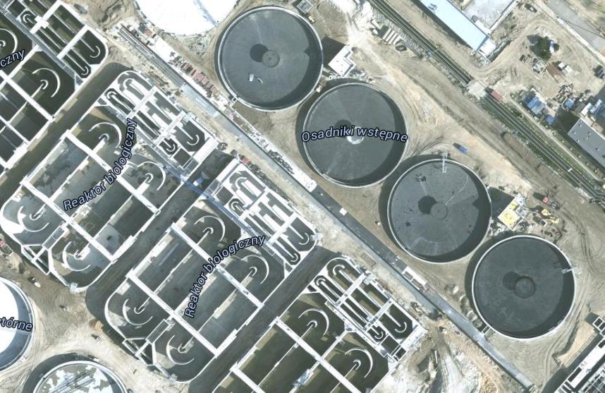 Oczyszczalnia Czajka, źródło: Google Maps.