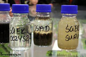 Porównanie: ściek oczyszczony, osad czynny (z pożytecznymi mikroorganizmami) i ściek surowy.