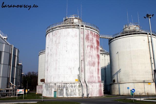 Komory fermentacyjne w oczyszczalni Czajka - tu otrzymuje się biomasę.