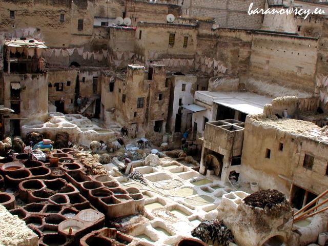 Tradycyjna garbarnia w Fezie, Maroko.