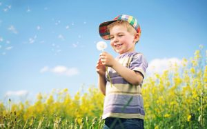 Colorful picture of kid playing dandelion