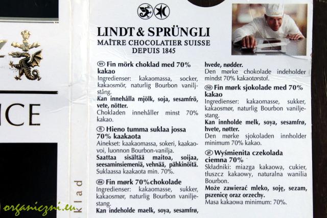 Skład czekolady Lindta 70%