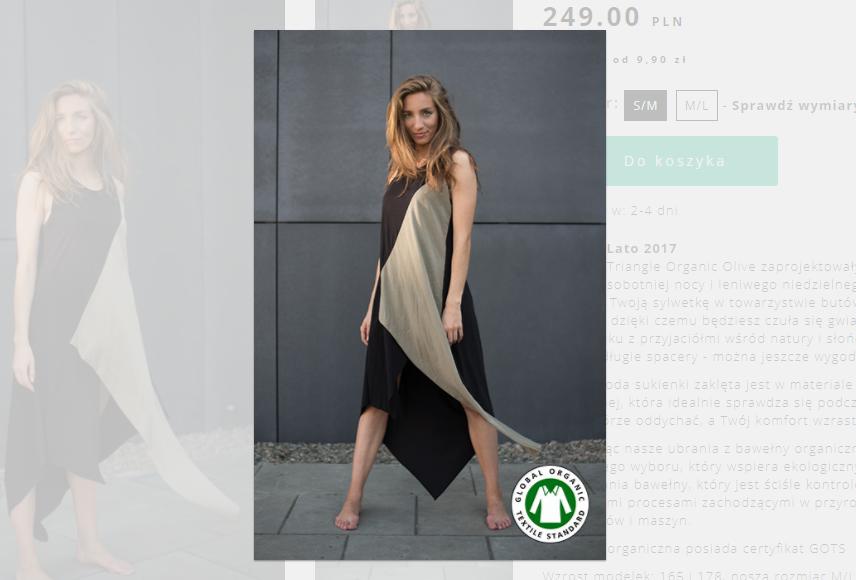 Sukienka KOKOworld, uszyta z bawełny ekologicznej - certyfikat GOTS