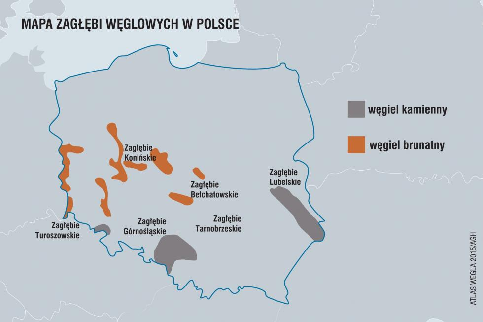Mapa zagłębi węglowych w Polsce. Autor/ka: Fundacja im. Heinricha Bölla. Zdjęcie na licencji Creative Commons License CC BY-SA 2.0