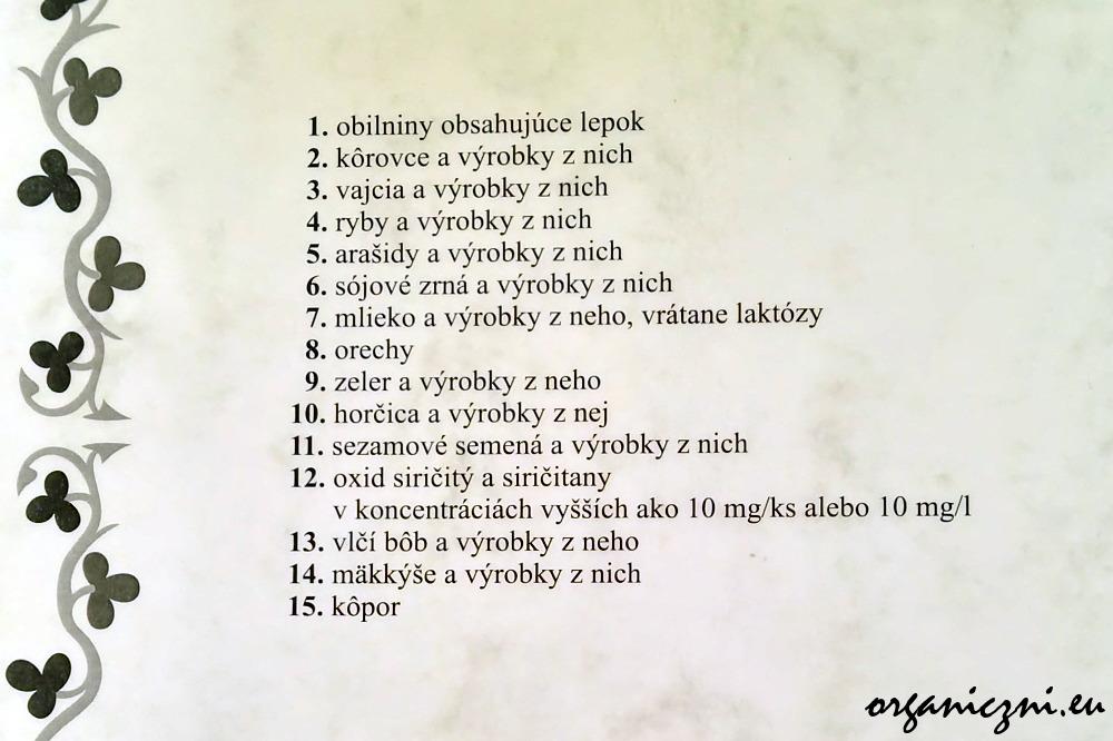 Spis alergenów w menu słowackiej restauracji