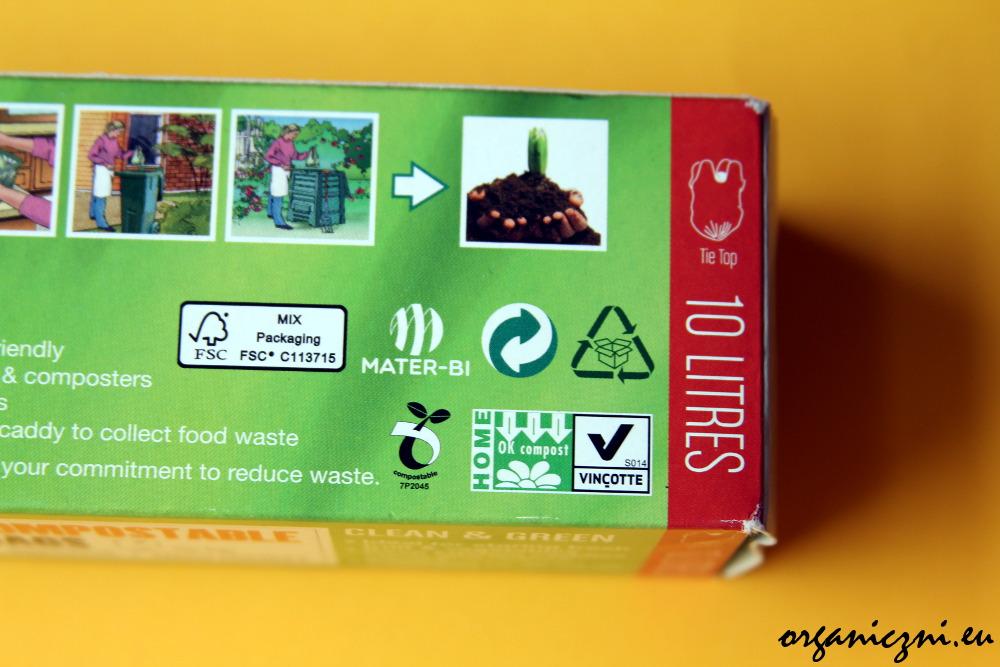 Certyfikat OK Compost Home na opakowaniu toreb BioBag